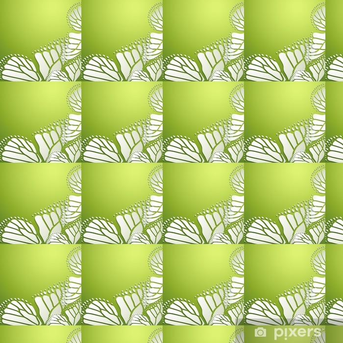Vinyltapete nach Maß Abstrakter Hintergrund mit grünen Schmetterlingen - Jahreszeiten