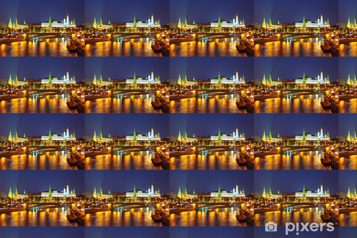 Tapeta na wymiar winylowa Kreml i rzeki Moskwy w nocy. Rosja - Moskwa