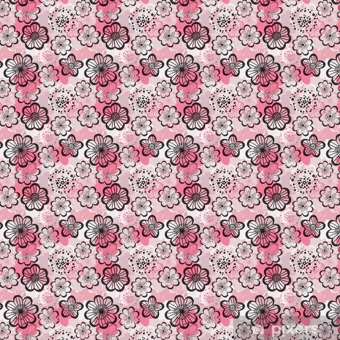 Papier peint vinyle sur mesure Seamless floral. Fleurs roses graphiques. - Textures