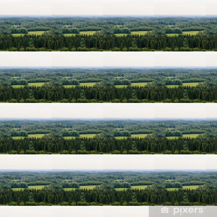 Papier peint vinyle sur mesure Collines boisées couvertes de brume - Campagne