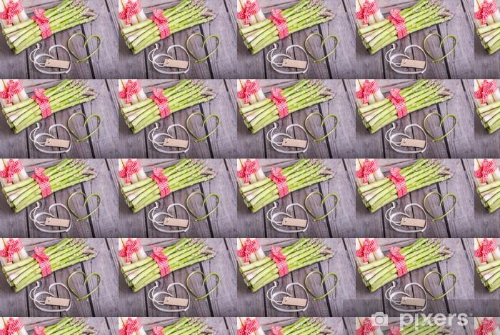 Papier peint vinyle sur mesure Grüner spargel liebt spargel Weissen - Epices, herbes et condiments
