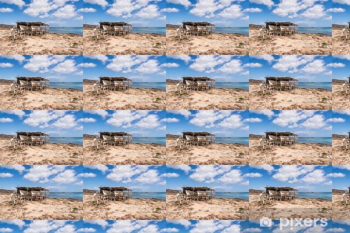 Vinylová tapeta na míru Es Pujols přístav v Formentera ostrovních dřevěných lodí železnic - Prázdniny