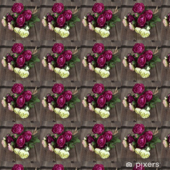 Tapeta na wymiar winylowa Różowy Ranunculus (perski Jaskier) r. na drewnianych tabeli - Znaki i symbole