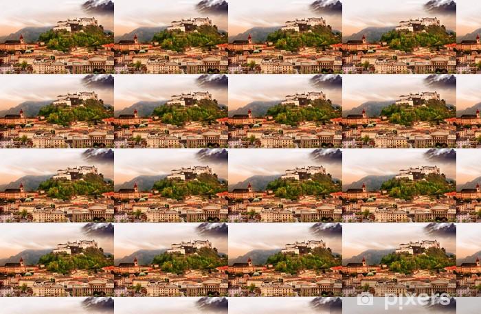 Tapeta na wymiar winylowa Miasto Salzburg na zachód słońca z widokiem na zamek w Austrii - Europa