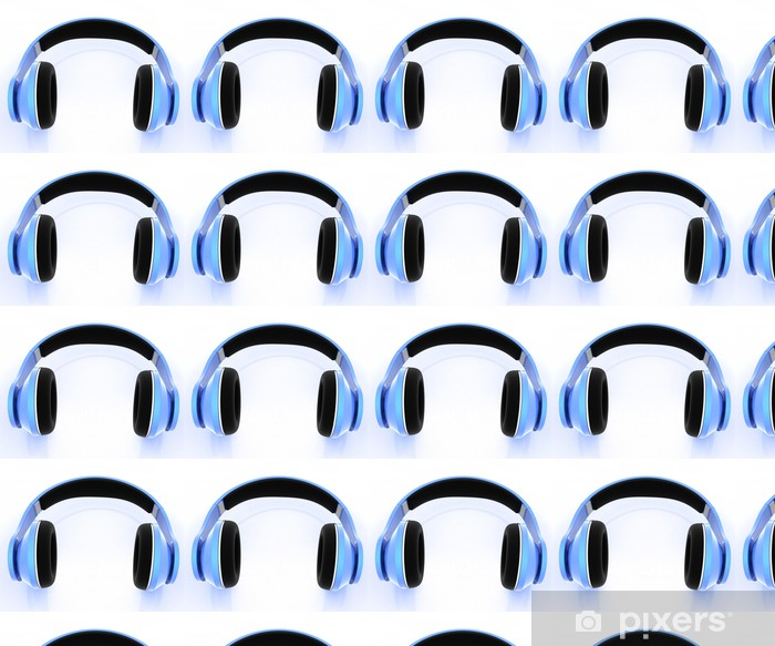 Papier peint vinyle sur mesure Bleu casque sur un fond blanc - Musique