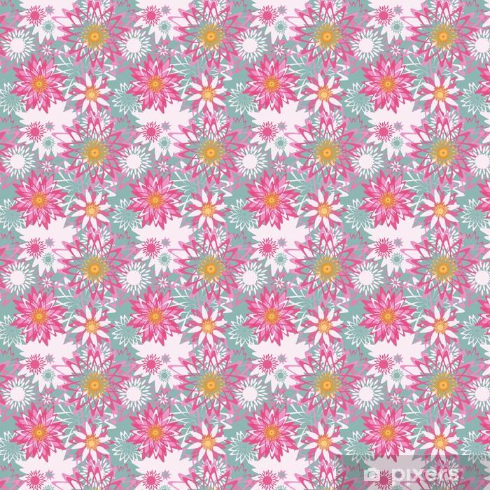 Papier peint vinyle sur mesure Motif floral avec des fleurs graphiques - Textures