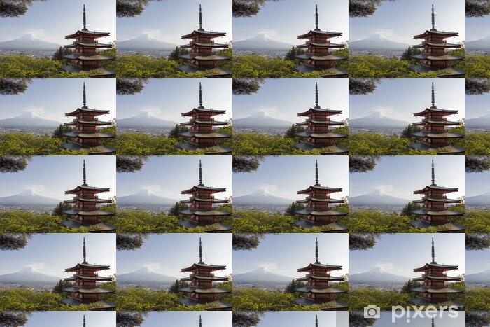 Papier peint vinyle sur mesure Mt. Fuji vu de derrière Chureito Pagode - Thèmes