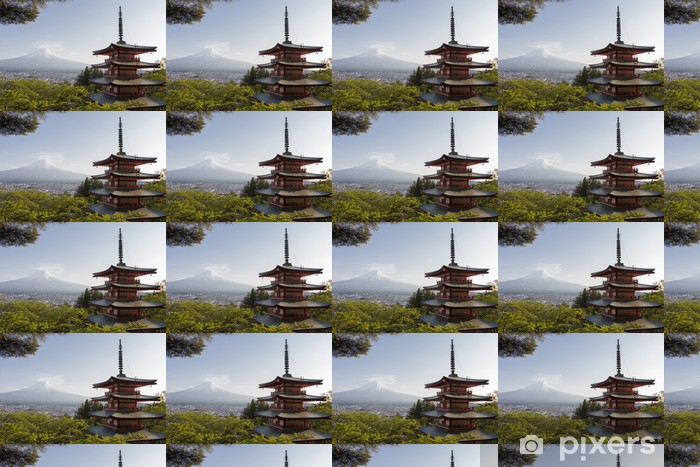 Mt. Fuji viewed from behind Chureito Pagoda Vinyl custom-made wallpaper - Themes