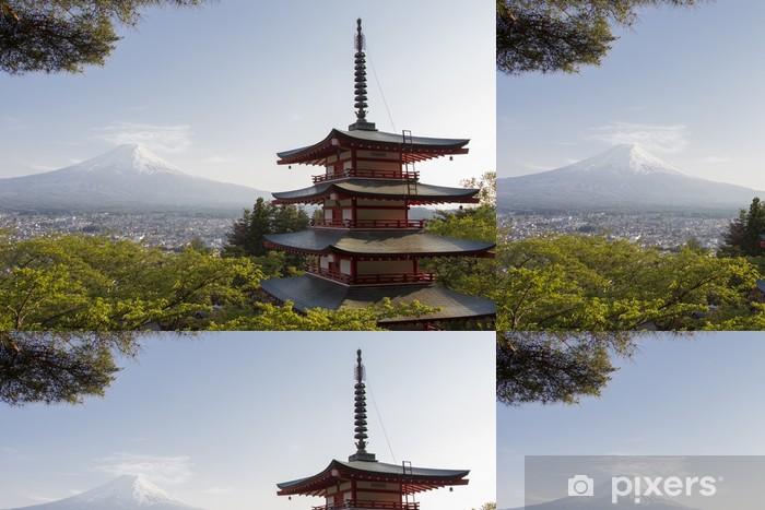 Papier Peint à Motifs Vinyle Mt. Fuji vu de derrière Chureito Pagode - Thèmes