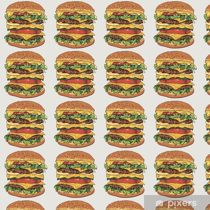 Papier peint vinyle sur mesure Hamburger, légumes fond - Situations