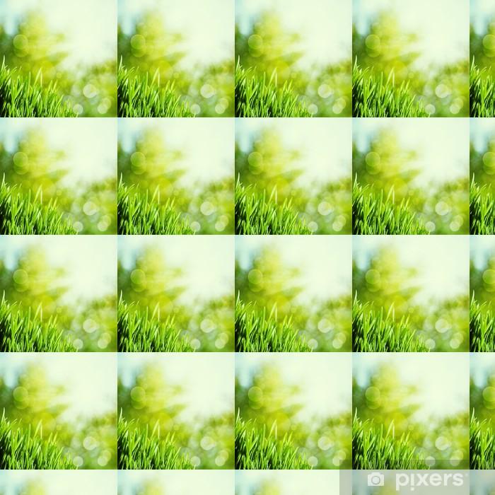 Papel de parede em vinil à sua medida Abstract natural backgrounds with green grass and beauty bokeh - Estações