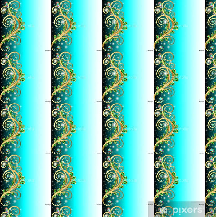 background with precious stones and gold ornaments leaves Vinyl custom-made wallpaper - Backgrounds