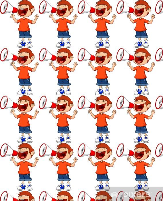 Tapeta na wymiar winylowa Cartoon chłopak krzyczy i krzyczy w megafon - Dzieci