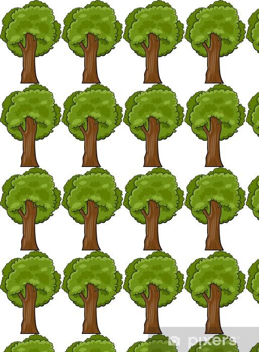 Papier peint vinyle sur mesure Illustration de bande dessinée de l'arbre à feuilles caduques - Arbres
