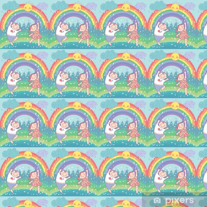 Tapeta na wymiar winylowa Ilustracja z szczęśliwe dzieci, tęcza, deszcz, słońce - Szczęście
