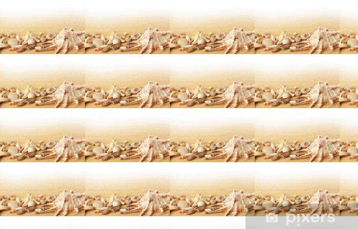 Carta da parati in vinile su misura Conchiglie e stelle marine sulla sabbia sfondo. - Spazio da decorare