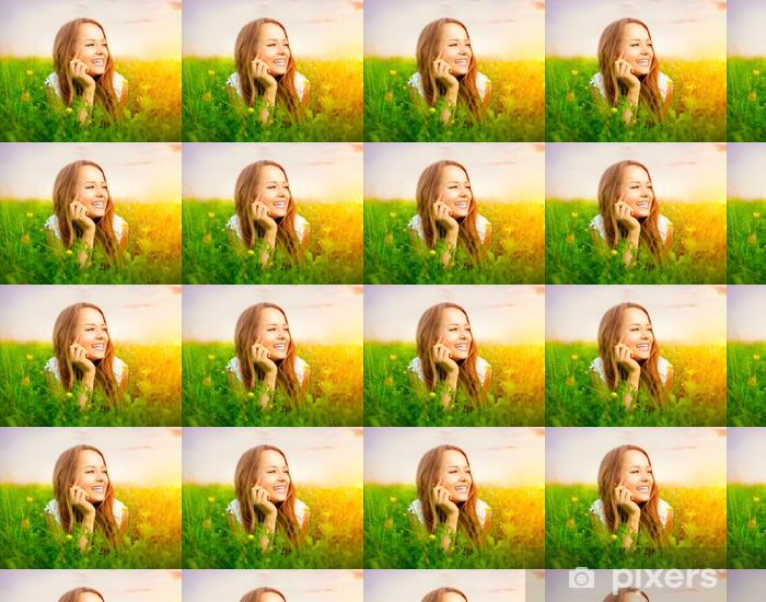 Beauty Girl in the Meadow lying on Green Grass Vinyl custom-made wallpaper - Women