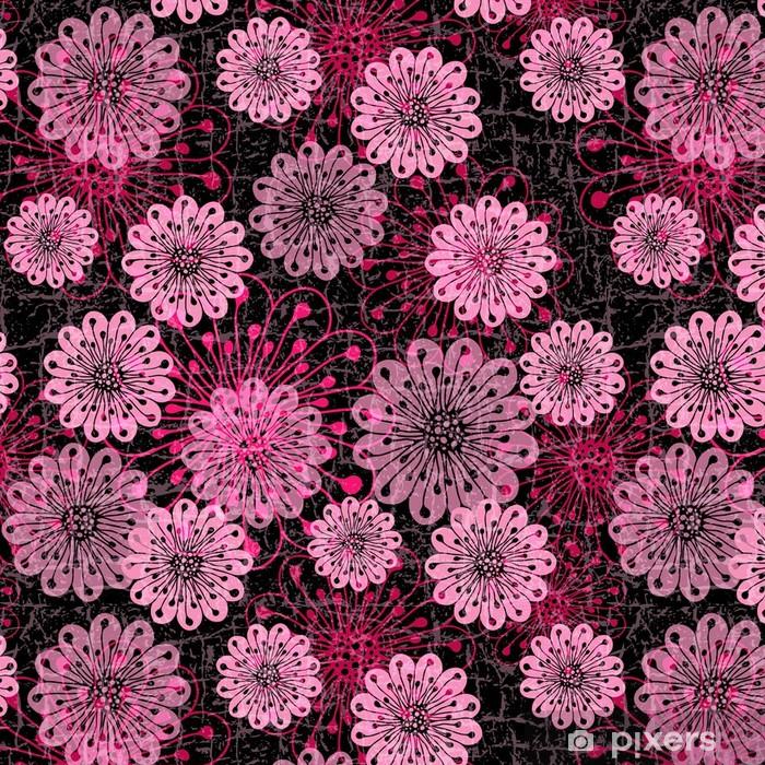 Tapete Dunkle Nahtlose Muster Mit Rosa Blumen Pixers Wir Leben