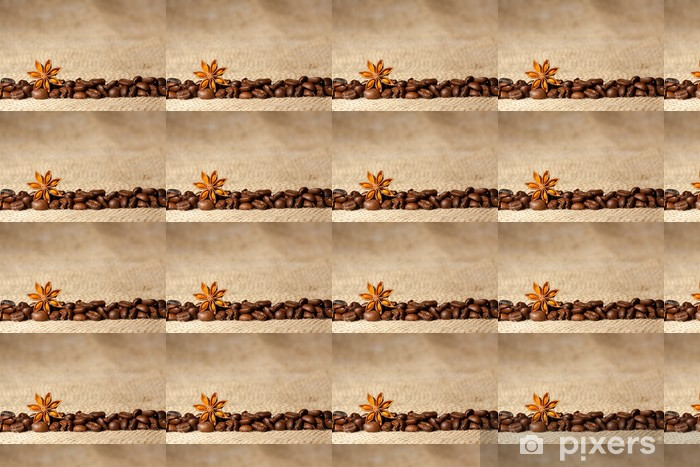 Coffee and Star Anise on sackcloth background with copyspace Vinyl custom-made wallpaper - Themes