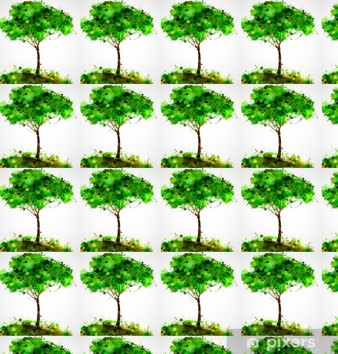 Papier peint vinyle sur mesure Arbre vert abstrait former par des taches - Saisons