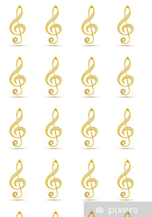 Papier peint vinyle sur mesure Clef triple d'or avec des diamants - Musique