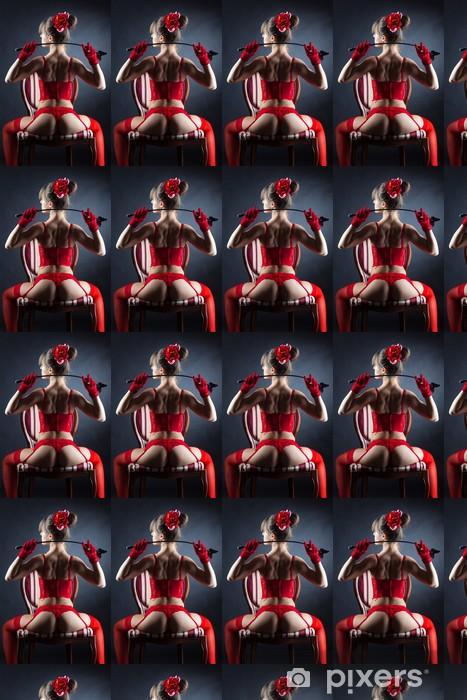 Papier peint vinyle sur mesure Jeune femme en lingerie rouge assis dans un fauteuil - Femmes