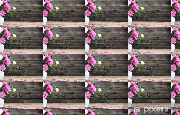Vinylová tapeta na míru Květiny na dřevěné pozadí - Květiny
