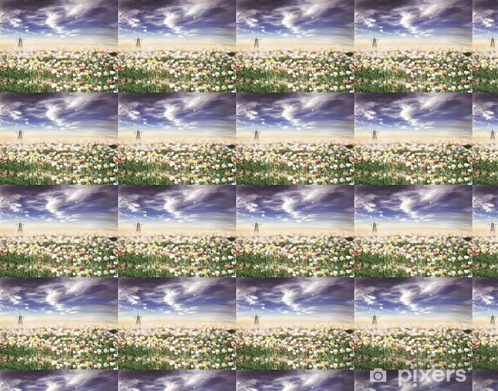 Tapeta na wymiar winylowa Tulipany polu o zachodzie słońca - Krajobraz wiejski