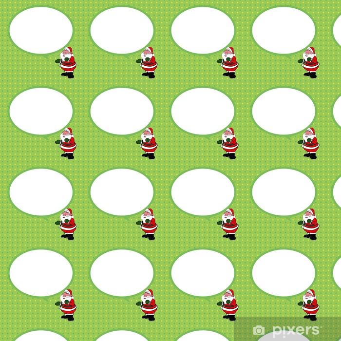 Tapeta na wymiar winylowa Święty Mikołaj z dymka zielonym tle Wektor - Tła