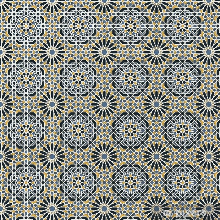 Papier peint vinyle sur mesure Arabesque seamless dans le bleu et le jaune - Arrière plans