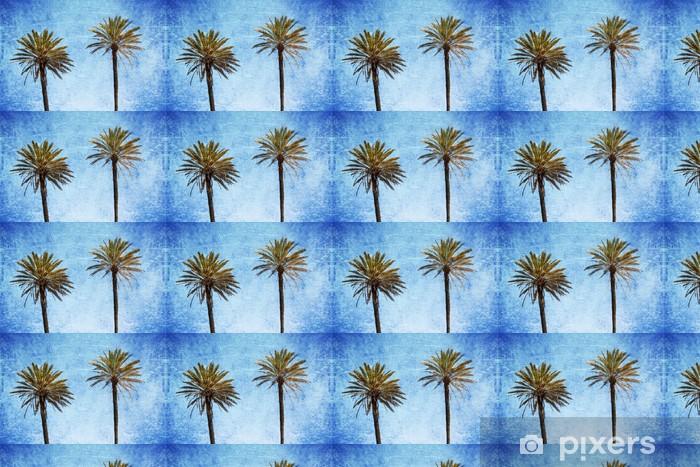 Papier peint vinyle sur mesure Zwei Palmen vor Grunge Hintergrund - Arbres