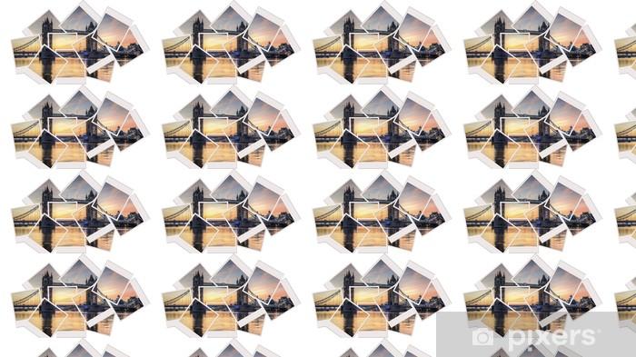 Vinylová tapeta na míru Tower bridge při východu slunce polaroid koláž - Evropská města
