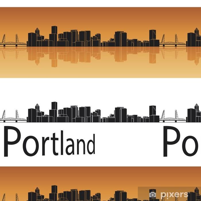Vinylová Tapeta Portland panorama v oranžovém pozadí - Amerika