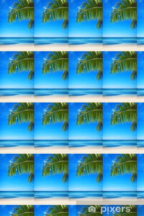 Papier peint vinyle sur mesure Ветки пальмы на фоне моря и неба - Arrière plans