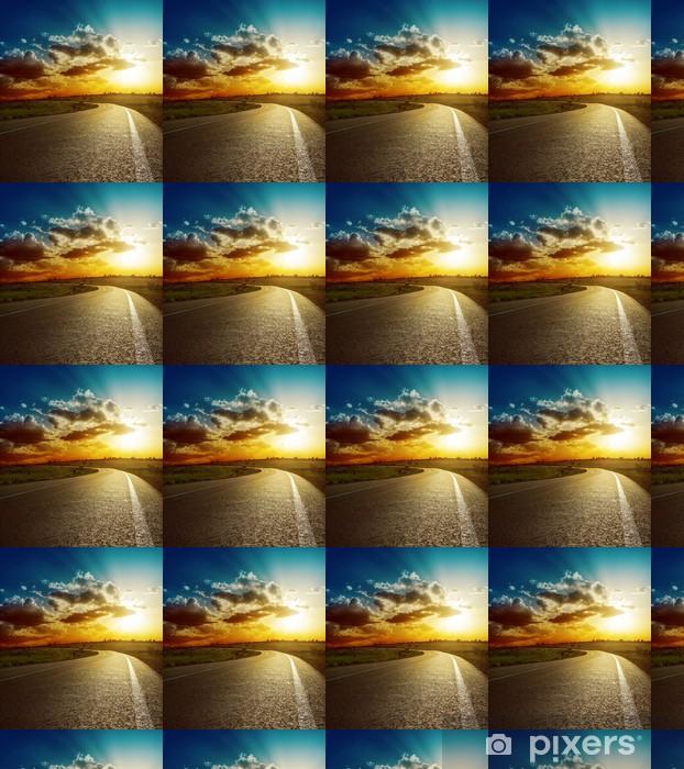 Tapeta na wymiar winylowa Idealny zachód słońca nad drogą asfaltową - Niebo