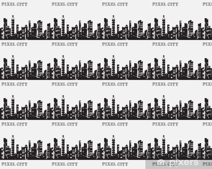 Papier peint vinyle sur mesure Silhouette urbaine dans les graphiques vectoriels de pixel - Industrie lourde