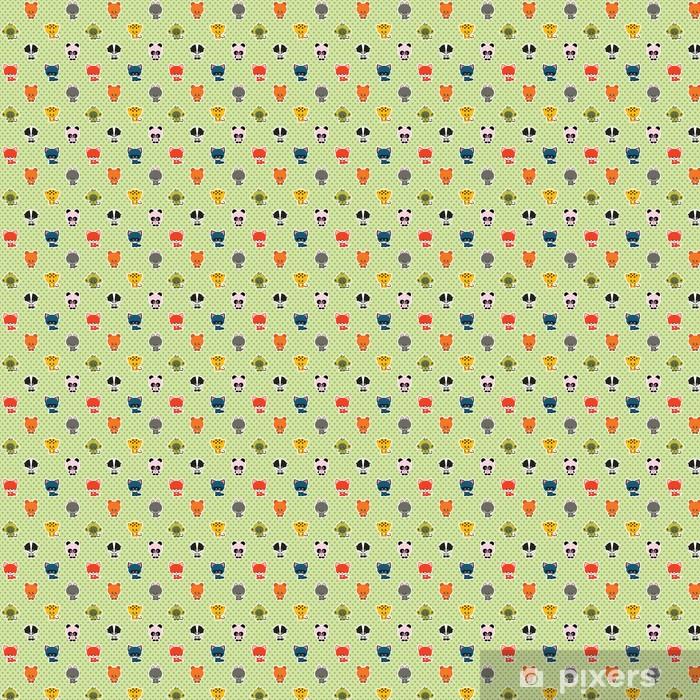 Tapeta na wymiar winylowa Wektor bez szwu zielony polka dot wzór z małych uroczych zwierzątek - Dla przedszkolaka