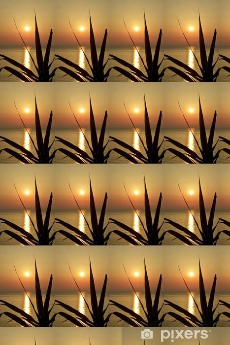 Papier peint vinyle sur mesure Feuilles de bambou »au coucher du soleil - Eau