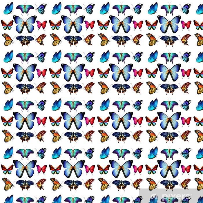 Papier peint vinyle sur mesure De nombreux papillons qui volent, isolé sur fond blanc - Autres Autres