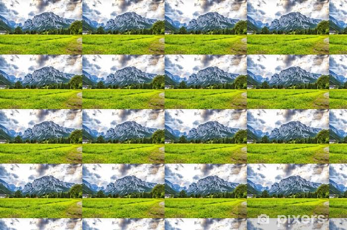 Laaja niitty, joka johtaa vuorille. Räätälöity vinyylitapetti - Maaseutu