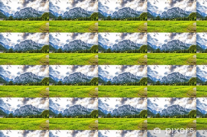 A vast Meadow leading to mountains. Vinyl Custom-made Wallpaper - Countryside