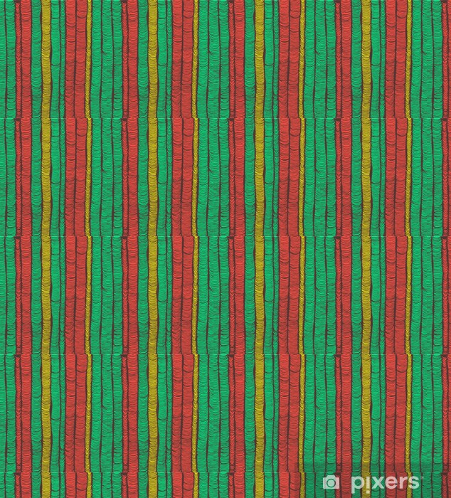 Rows of red and green hand drawn vertical folds Vinyl Custom-made Wallpaper - Backgrounds