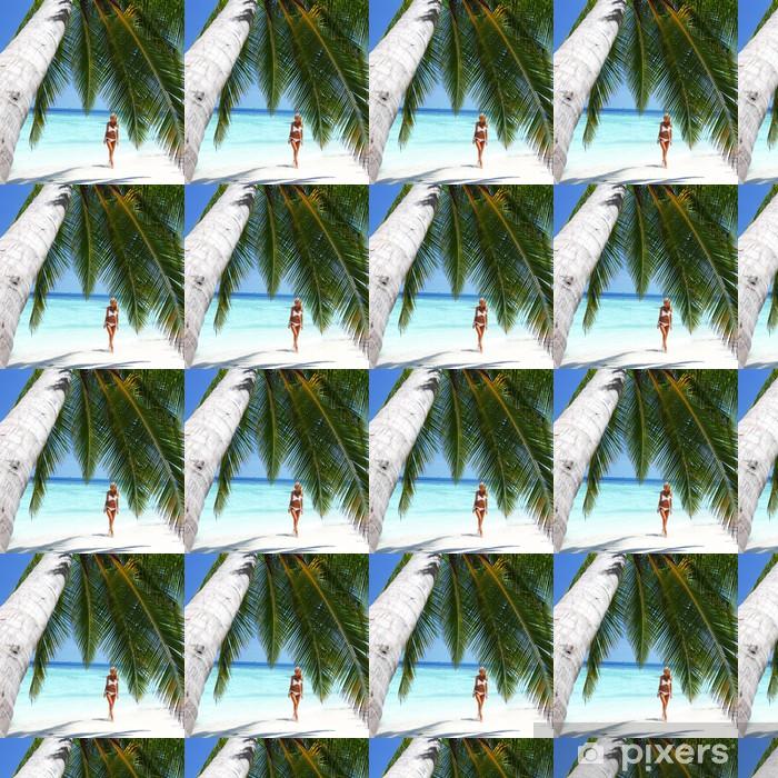 Papier peint vinyle sur mesure Femme sous les palmiers - Thèmes