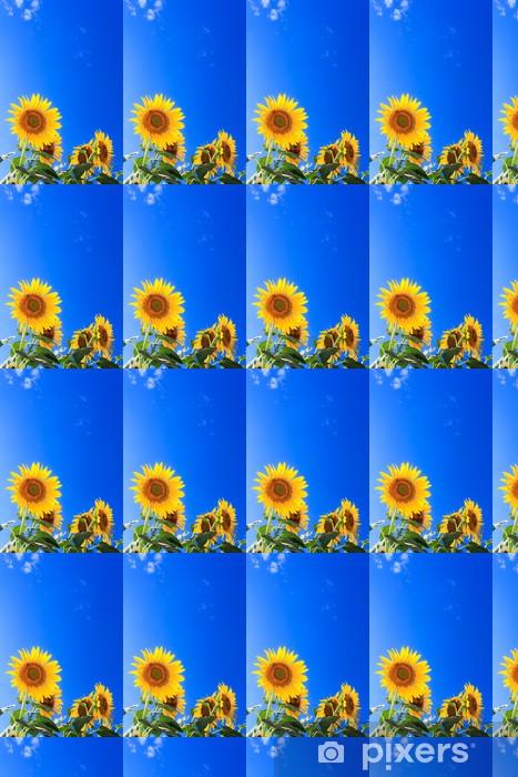 Papier peint vinyle sur mesure Tournesol et ciel bleu - Fleurs