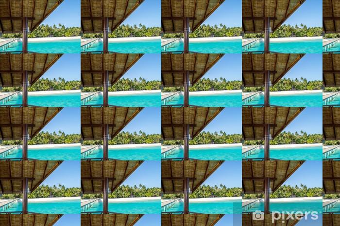 Vinyltapete nach Maß Jetty mit Meerblick auf tropischen Insel - Urlaub