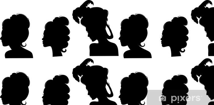 Tapete Silhouetten Von Frisuren Des 19 Jahrhunderts Pixers Wir