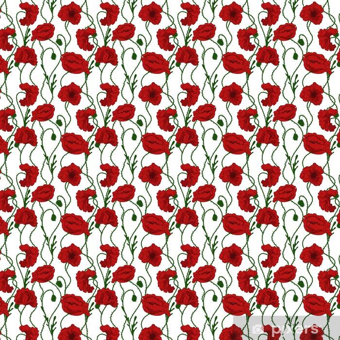 Tapeta na wymiar winylowa Bez szwu deseń z kwiatów maku - Tematy