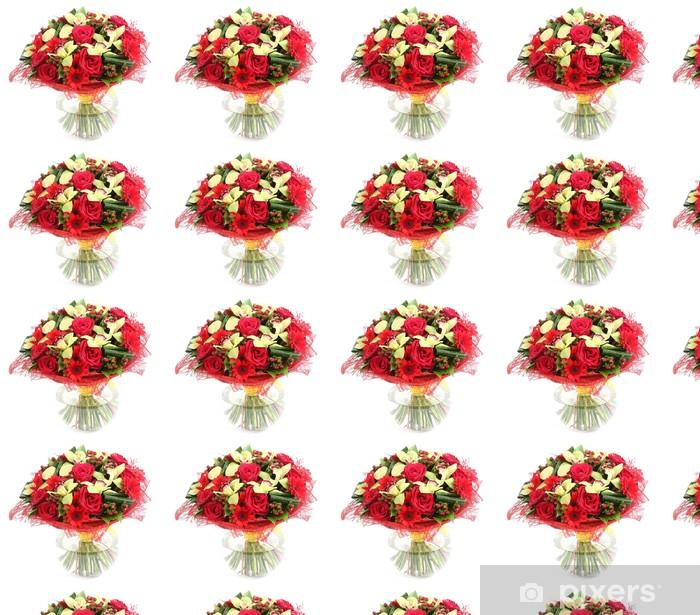 Papier peint vinyle sur mesure Composition florale en verre, vase transparent: roses rouges, orchidée - Fleurs