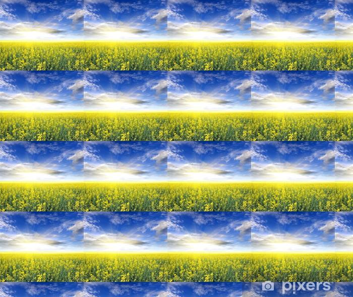 Papier peint vinyle sur mesure Champ de colza avec de beaux nuages - plante pour l'énergie verte - Campagne