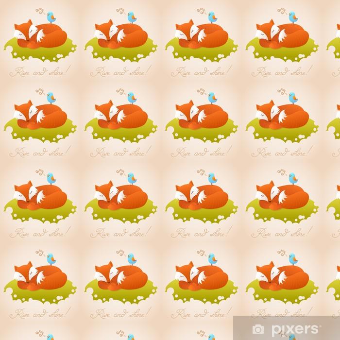 Papier peint vinyle sur mesure Carte de bébé mignon avec dormir renard roux - Animaux imaginaires